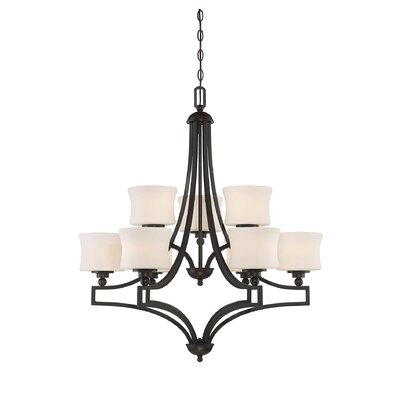 Terrell 9-Light Shaded Chandelier Finish: English Bronze