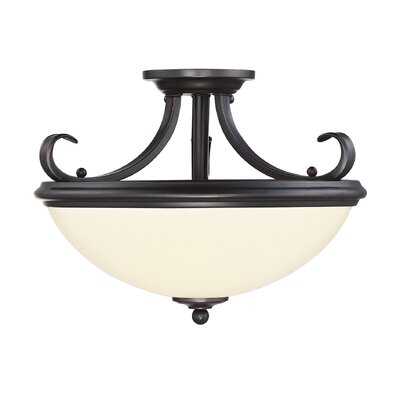 Willoughby 2-Light Semi Flush Mount Finish: English Bronze