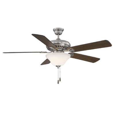 52 Liya 3-Light 5 Blade Ceiling Fan Motor Finish: Brushed Pewter, Blade Finish: Walnut, Shade Color: White Marble