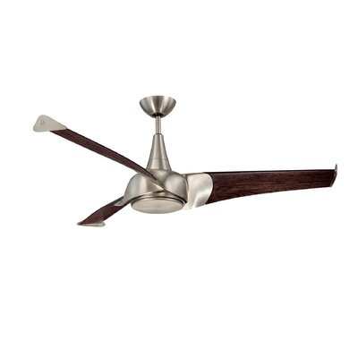 55 Dilbeck 3-Blade Ceiling Fan Finish: Satin Nickel, Accessories: No Downrod