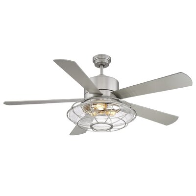 56 Roberts 5 Blade Ceiling Fan with Remote Control Finish: Satin Nickel with Silver Blades