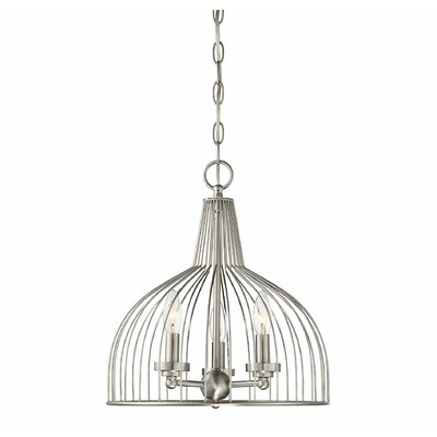 Georgie 3-Light Candle-Style Chandelier Finish: Brushed Nickel, Size: 15 H x 15 W x 14 D