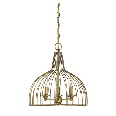 Georgie 3-Light Candle-Style Chandelier Finish: Natural Brass, Size: 15 H x 15 W x 14 D