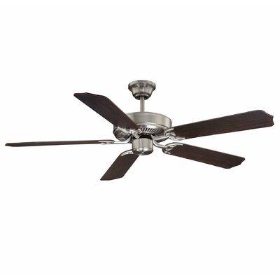 Low Price 52 inches Builder Select 5 Blade Ceiling Fan Finish: Satin Nickel with Chestnut Blades