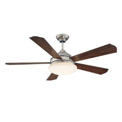 52 Seymour 3-Light 5 Blade Ceiling Fan Motor Finish: Satin Nickel, Blade Finish: Beechwood, Shade Color: White Opal Etched
