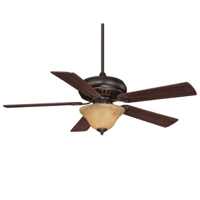 52 Liya 3-Light 5 Blade Ceiling Fan Motor Finish: English Bronze, Blade Finish: Walnut, Shade Color: Cream Marble