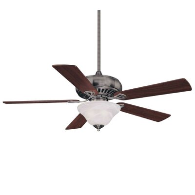 52 Declan 3-Light 5 Blade Ceiling Fan Blade Finish: Walnut, Motor Finish: Brushed Pewter, Shade Color: White Marble