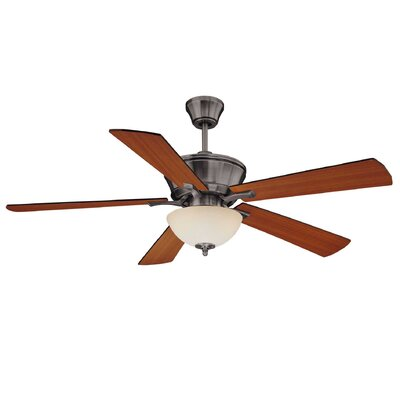 52 Claudelle 3-Light 5 Blade Ceiling Fan Motor Finish: Brushed Pewter, Blade Finish: Walnut / Teak, Shade Color: White Scavo