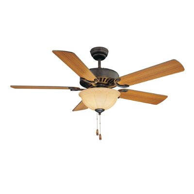 52 Valencia 3-Light 5 Blade Ceiling Fan Motor Finish: English Bronze, Shade Color: Cream Frosted