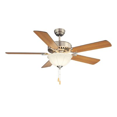 52 Valencia 3-Light 5 Blade Ceiling Fan Motor Finish: Satin Nickel, Shade Color: White Frosted