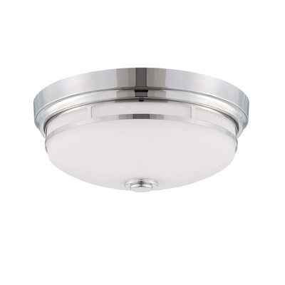 2-Light Flush Mount Finish: Polished Nickel, Shade Color: White