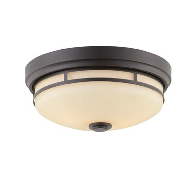 Voegele 2-Light Flush Mount Finish: Slate, Shade Color: Cream