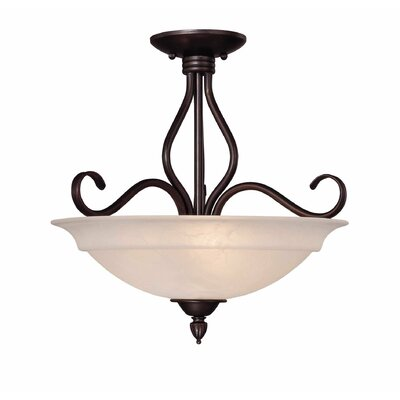 Ingles 3-Light Semi Flush Mount Color: English Bronze