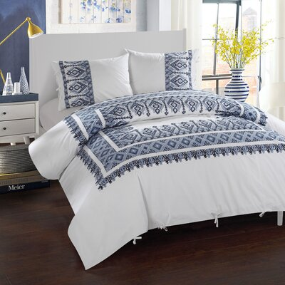 3 Piece Sarita Garden Aztec Ribbon Embroidered Duvet Cover Set Size: Full/Queen