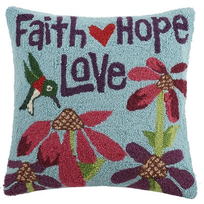 Faith Hope Love Wool Throw Pillow