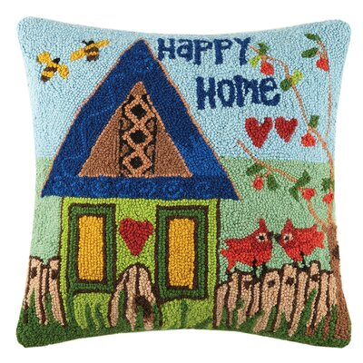 Happy Home Wool Throw Pillow