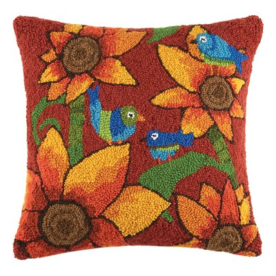 Sunflower Birds Wool Throw Pillow
