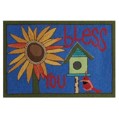 Bless You Hand-Woven Blue Area Rug