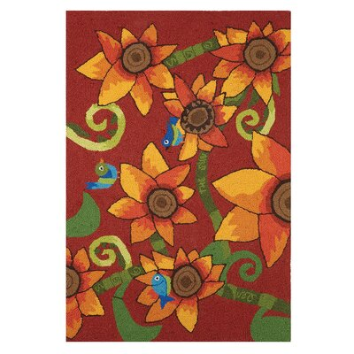 Sunflower Bird Hand-Woven Red Area Rug