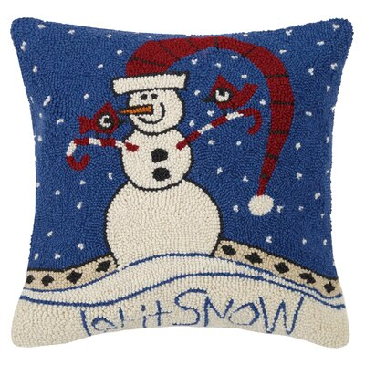 Let It Snow Hook Wool Throw Pillow