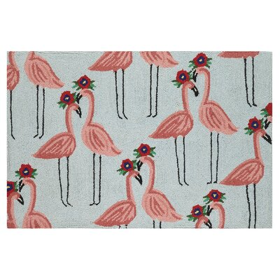 Flamingo Hook Hand-Woven Gray/Red Area Rug