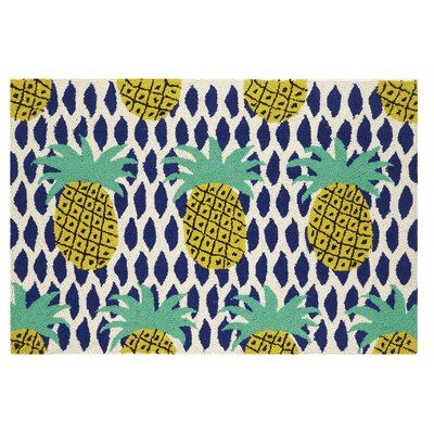 Pineapple Hook Hand-Woven Green/Blue Area Rug