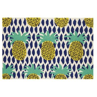 Pineapple Hook Hand-Woven Green/Blue Area Rug