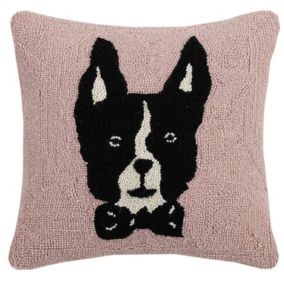 Magyar Boston Terrier Hook Wool Throw Pillow