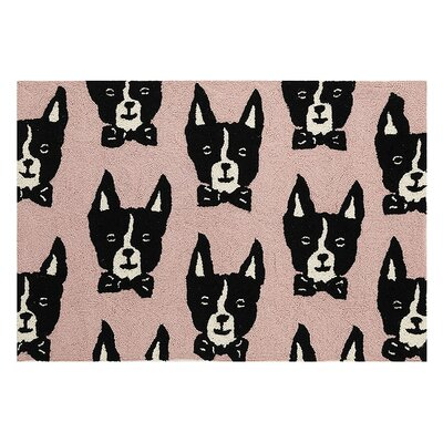 Mautte Boston Terrier Hand Hooked Wool Peach Area Rug