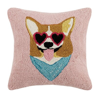Tosches Corgi Dog Hook Wool Throw Pillow