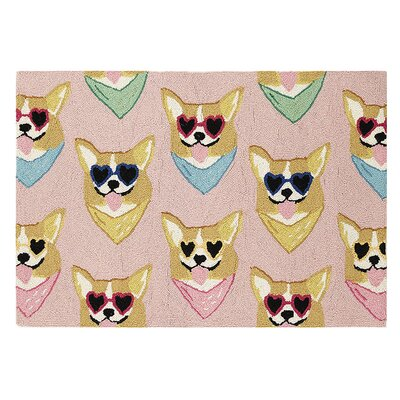Mushat Corgi Dog Hand Hooked Wool Peach Area Rug