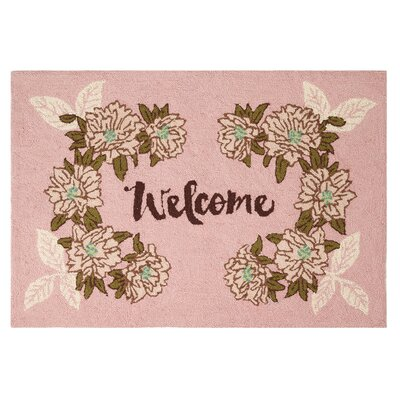 Posy Welcome Hook Hand-woven Pink/green Area Rug