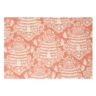 Beehive Hook Hand-woven Orange Area Rug