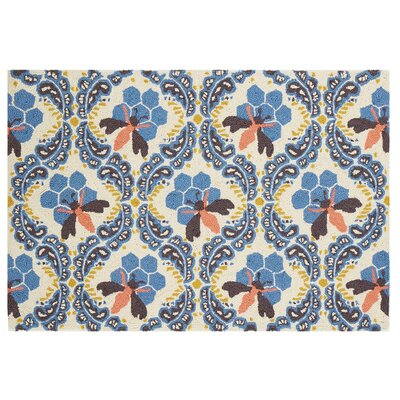 Honey House Hook Hand-Woven Blue/Beige Area Rug