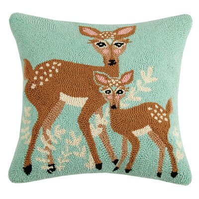 Beechwood Deer Wool Throw Pillow