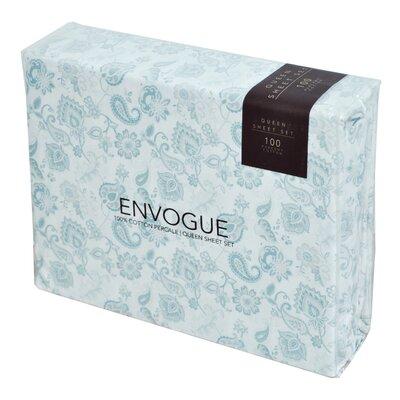 Machias 200 Thread Count 3 Piece 100% Percale Cotton Sheet Set Color: Dust Blue