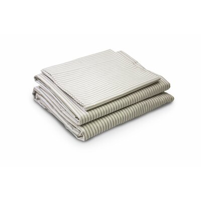 Rivera Ticking Twill 200 Thread Count 4 Piece 100% Percale Cotton Sheet Set Size: Queen