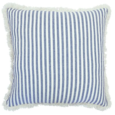 Cartee Striped 100% Cotton Euro Pillow Color: Navy