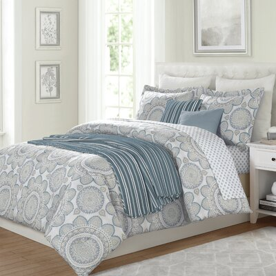 Darcella Medallion 10 Piece Reversible Comforter Set Size: Queen