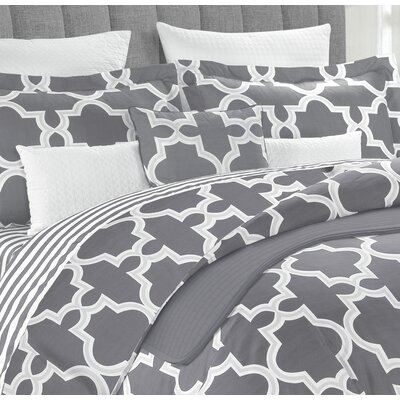 Ardentown Geometric 10 Piece Reversible Comforter Set Size: King