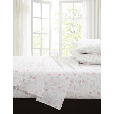 Chaunie 200 Thread Count 100% Cotton Sheet Set Size: Full, Color: Coral