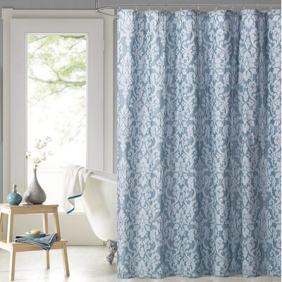 Edelina Steel Damask 100% Cotton Shower Curtain