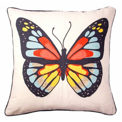 Baggarly Butterfly Embroidered Throw Pillow