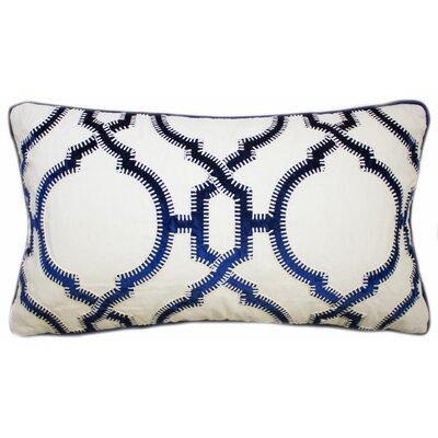 Cadbury Embroidered Lumbar Pillow Color: Navy