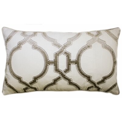 Cadbury Embroidered Lumbar Pillow Color: Tan