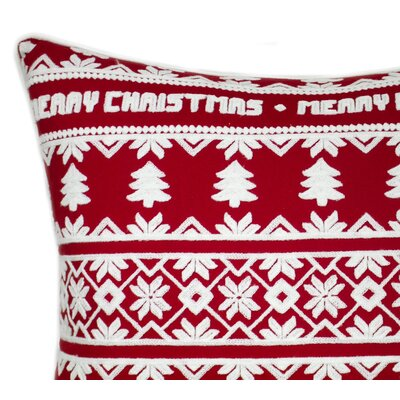 Merry Christmas Embroidered 100% Cotton Throw Pillow