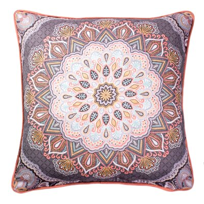 Kathy Printed 100% Cotton Throw Pillow Color: Charcoal