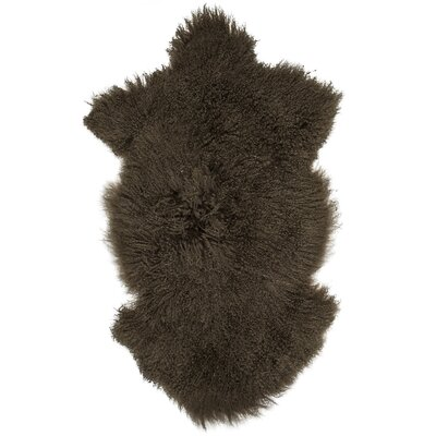 Essentials Fuyu Sheepskin Mongolian Brown Area Rug