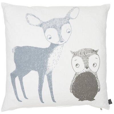 Kids Deer and Owl Cotton Throw Pillow Color: Blue/Gray