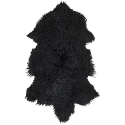 Essentials Fuyu Sheepskin Mongolian Black Area Rug